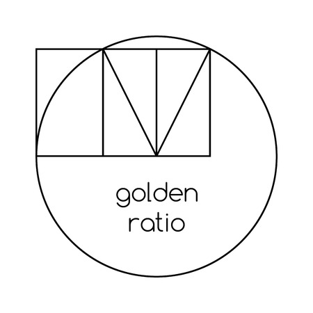 nombre d or: Golden ratio line graphic on white background