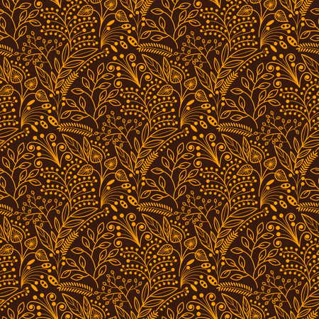 botanics: Brown and yellow floral scales seamless pattern