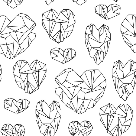 opal: Seamless pattern made of mineral heart-shaped crystals on white background