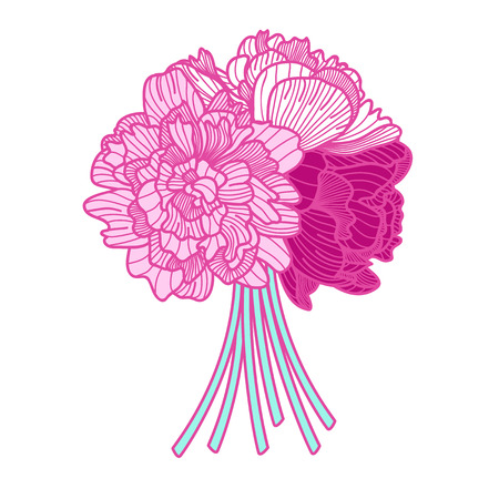 botanics: bouquet illustration made of peonies on white background