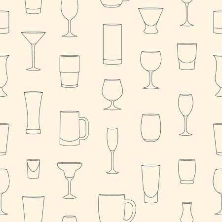 drinkware: Seamless pattern made of linear drinkware on beige background