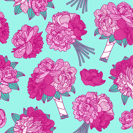 botanics: Seamless pattern made of peony bouquets on teal blue background