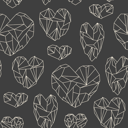 ruby stone: Seamless pattern made of mineral heart-shaped crystals on grey background
