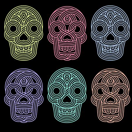 parallel: Set of parallel lines skulls on blackground