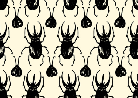 coleoptera: Repeating pattern made of sketched bugs
