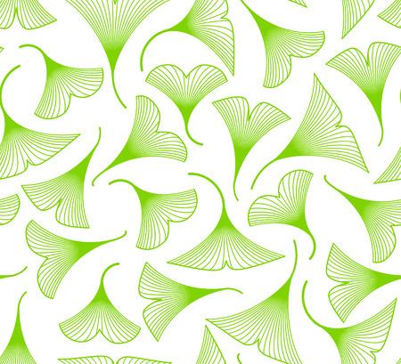 Ginkgo biloba leaves seamless pattern on white background Illustration