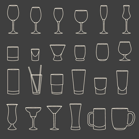 drinkware: Set of linear drinkware on grey background
