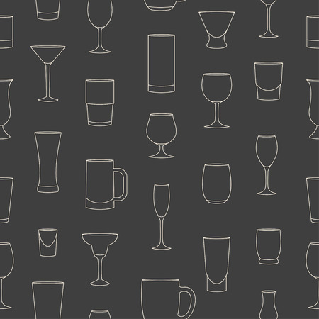 drinkware: Seamless pattern made of linear drinkware on grey background