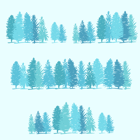 pine trees: Three borders made of pine trees on blue background