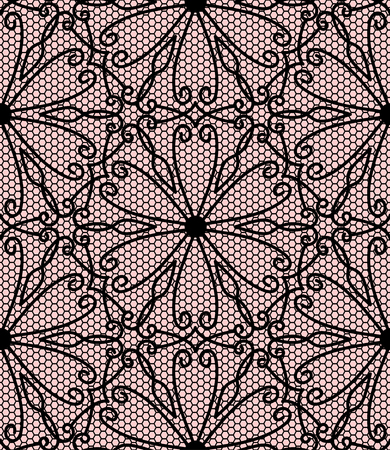 pink and black: Seamless black lace pattern on pink background Illustration