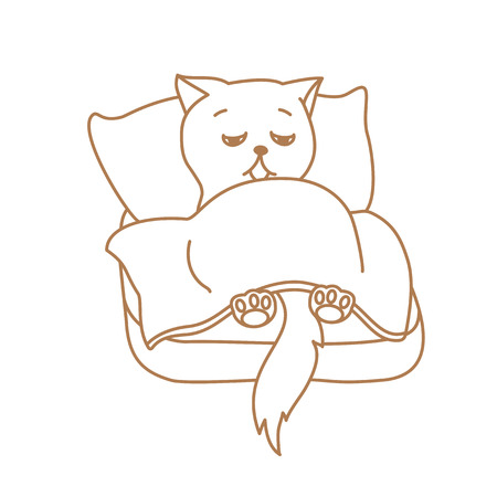 Cute cat character lying in bed tired or ill Illustration