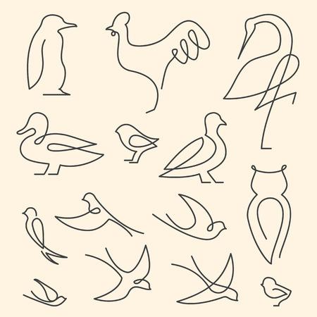 one animal: One line birds art logo set