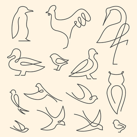 One line birds art logo set