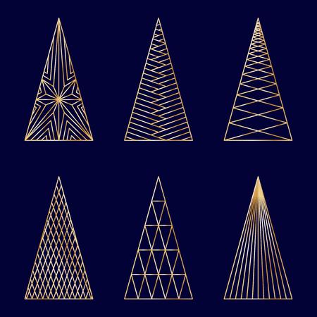 Set van lineaire grafische gestileerde kerstbomen op donkerblauwe achtergrond