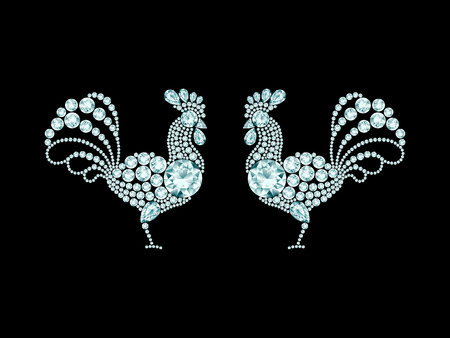 Two elegant roosters diamond composition