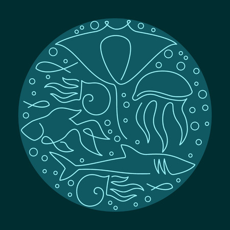 Round composition made of sea fauna linear drawings