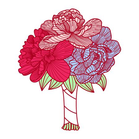 Wedding bouquet illustration made of peonies Illustration
