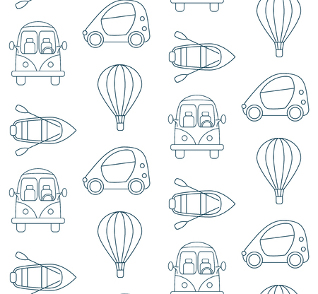 means of transport: Seamless pattern made of cartoon linear transport means on white background