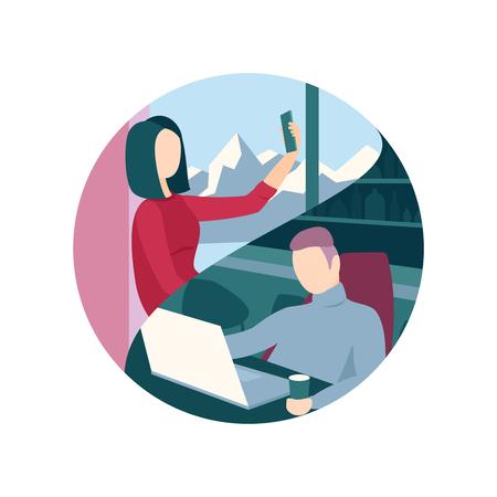 acquaintance: Couple communicating via modern technologies. Long-distance relationship
