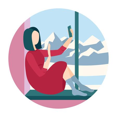 Woman sitting on a windowsill with smartphone Illustration