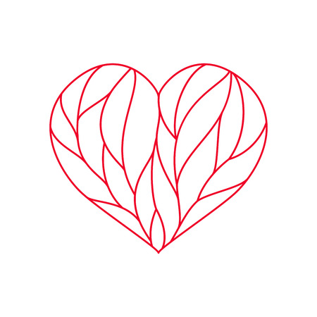 Heart composition divided with red lines on white background