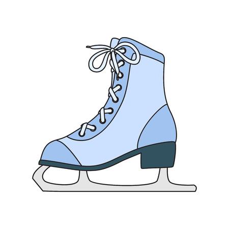 Ice skates line art drawing on white background Illustration