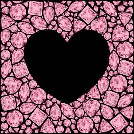 ruby: Heart frame made of pink gemstones on black background