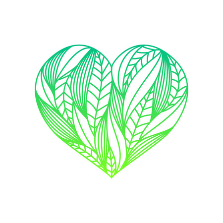 Heart composition made of green gradient linear leaves on white background Illustration