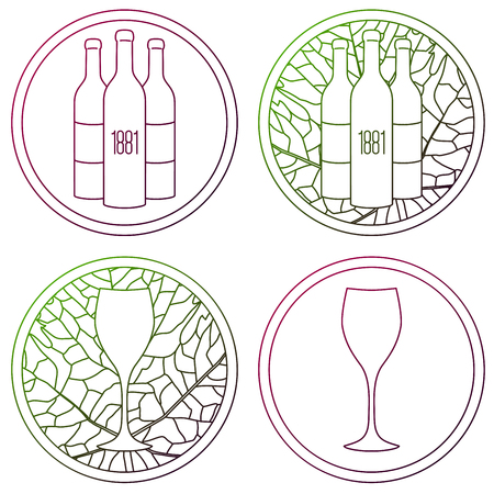 Set of linear logo for wine making, shop or winery on white background