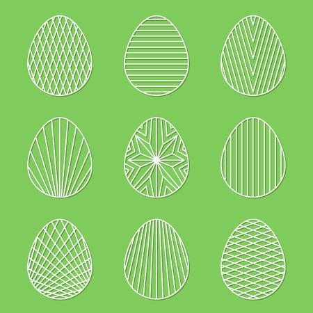 Set of linear minimal Easter egg vector art on green background