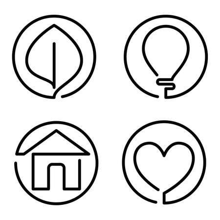 Set of continuous bold line logo on white background Illustration