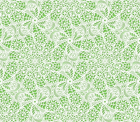 Seamless flower paisley lace pattern on green background