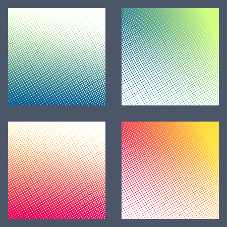 Set of colourful halftone background templates