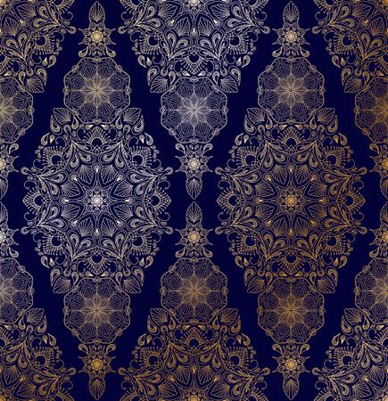 Decorative golden floral mandala seamless pattern on blue background Illustration