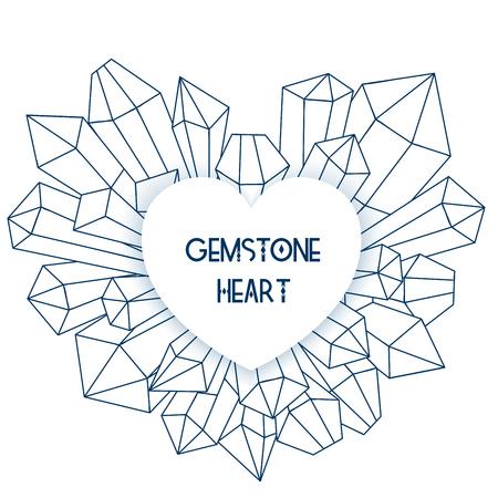 Heart frame with mineral crystal splash beside it Illustration