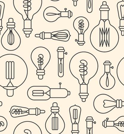 Seamless pattern made of linear lightbulbs Illustration