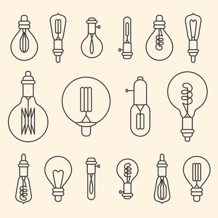 Set of retro stylized linear electric bulbs illustration