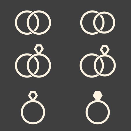Set of engagement rings icons on dark grey background