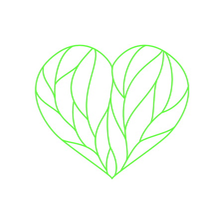 Heart composition divided with green lines on white background Illustration