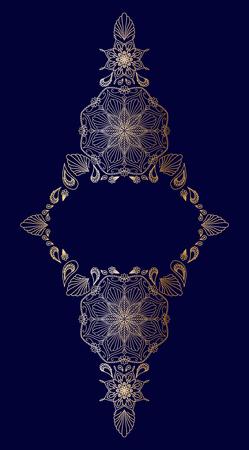 Decorative golden floral mandala frame element on blue background Illustration