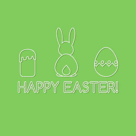Card template with Easter symbols line art and Happy Easter inscription