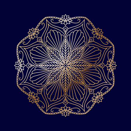 Round golden decorative floral mandala element on blue background