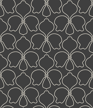 A seamless linear flower pattern on gray background. Illustration