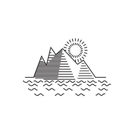 alpinism: Linear illustration of mountain sunrise on white background Illustration