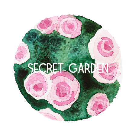 Round watercolor painting of blooming roses with secret garden inscription