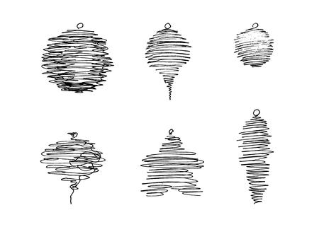 Set of pen sketched Christmas decorations Illustration