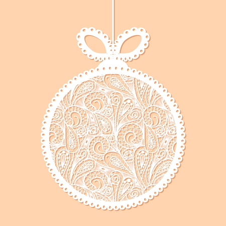 Decorative white lace Christmas ball toy on beige background
