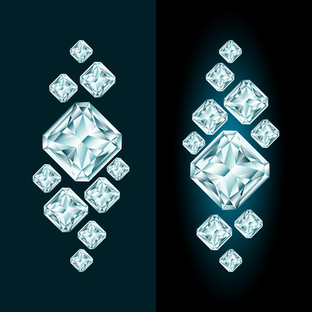 Abstract diamond composition with and without glow