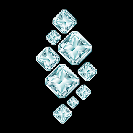 Abstract diamond composition on black background