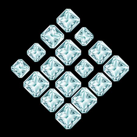 Rhombus composition made of shining diamonds on black background Illusztráció